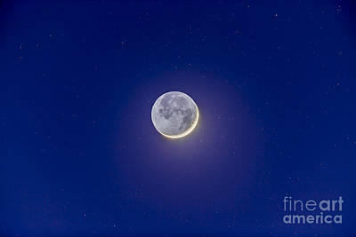 Crescent Moon With Earthshine Art Print