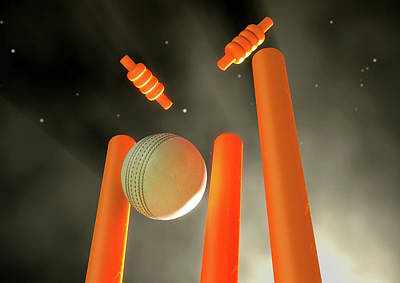 Cricket Ball Hitting Wickets Art Print by Allan Swart