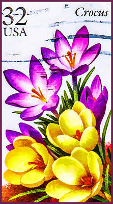 United States Postage Painting - Crocus by Lanjee Chee