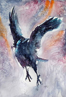 Crows Painting - Crow In Autumn by Kovacs Anna Brigitta