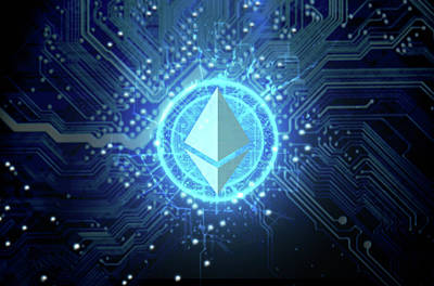Hologram Digital Art - Cryptocurrency Hologram And Circuit Board by Allan Swart