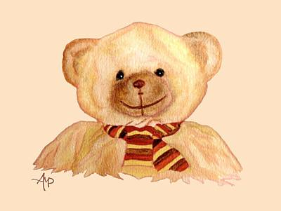 Teddy Bear Watercolor Painting - Cuddly Bear by Angeles M Pomata