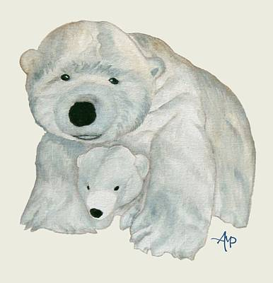 Teddy Bear Watercolor Painting - Cuddly Polar Bear by Angeles M Pomata
