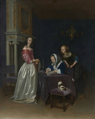 Painting - Curiosity by Gerard ter Borch