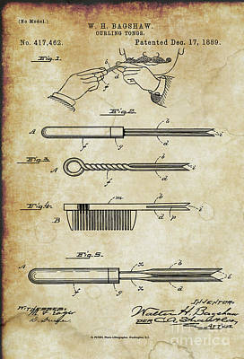 Photograph - Curling Tongs Patent From 1889 by Doc Braham