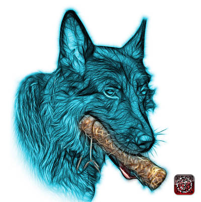 Digital Art - Cyan German Shepherd And Toy - 0745 F by James Ahn