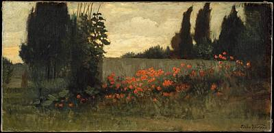 Cypress And Poppies Original by Elihu Vedder