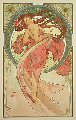 Mucha Drawing - Dance by Alphonse Mucha
