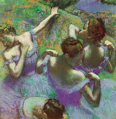 Stage Painting - Dancers In Blue by Edgar Degas