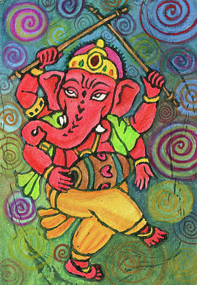 Religious Mixed Media - Dancing Ganesha by Jennifer Mazzucco