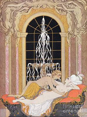 Nudes Painting - Dangerous Liaisons by Georges Barbier