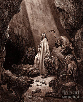 Animals Drawing - Daniel In The Den Of Lions by Gustave Dore