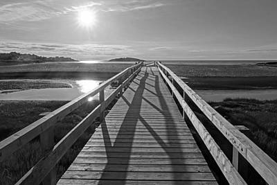 Photograph - Good Harbor Beach Footbridge Sunny Shadow Black And White by Toby McGuire