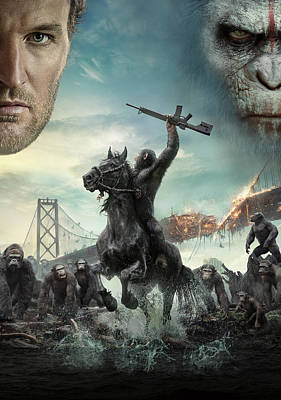 Ape Digital Art - Dawn Of The Planet Of The Apes 2014 by Fine Artist