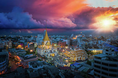 Photograph - Day To Night Short Of Temple In China Town by Anek Suwannaphoom