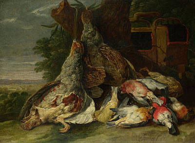 Carcass Painting - Dead Birds In A Landscape by Jan Fyt