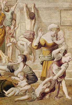 Detail Of Saint Cecilia Distributing Alms Art Print by Domenichino