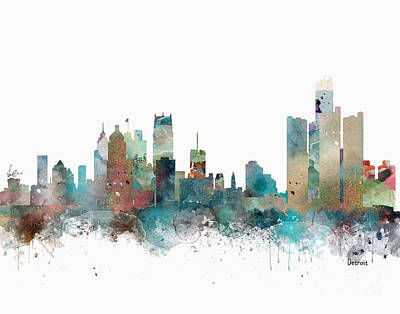 Painting - Detroit Michigan Skyline by Bleu Bri