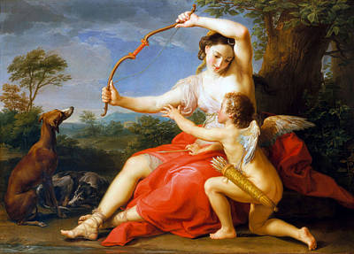 Photograph - Diana And Cupid  by Pompeo Batoni