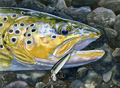 Trout Painting - Dinner Gone Bad by Mark Jennings