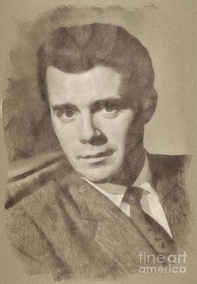 Musicians Drawings Rights Managed Images - Dirk Bogarde, Vintage Actor Royalty-Free Image by Esoterica Art Agency