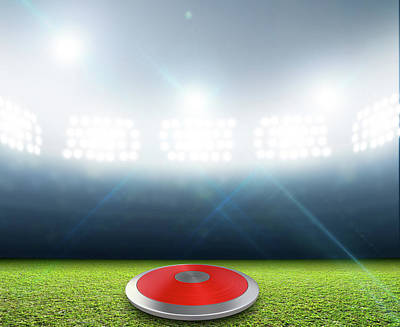 Turf Digital Art - Discus In Generic Floodlit Stadium by Allan Swart