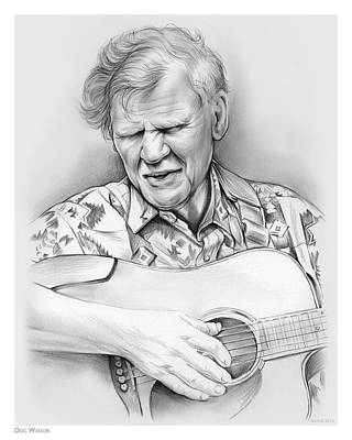 Gospel Music Drawing - Doc Watson by Greg Joens