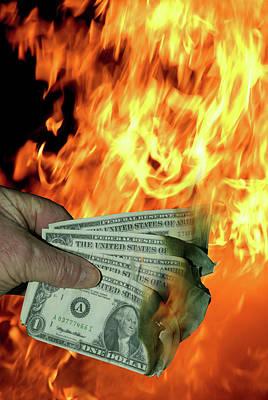 Burning Money Photograph - Dollar Money Burn by David Cole