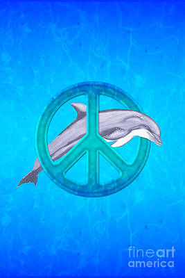 Bottlenosed Digital Art - Dolphin Peace by Chris MacDonald