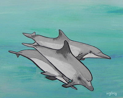 Titusville Painting - Dolphins by W Gilroy
