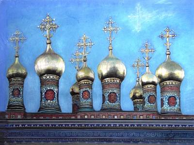 Domes Above The Moscow Kremlin Print by Janet Grappin