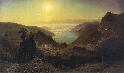 The Summit Painting - Donner Lake From The Summit by Albert Bierstadt