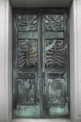 Portal Photograph - Door, Doors, Portals, Portal,bellefontaine, Verdigris, Metal Door, Copper Door by Jane Linders