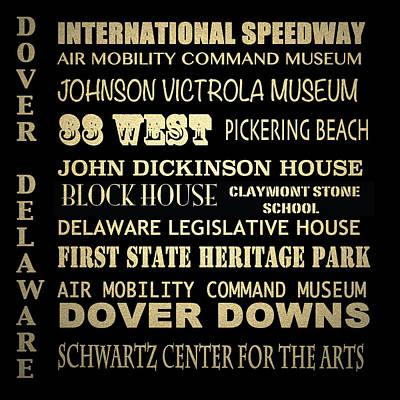 Dover Downs Digital Art - Dover Famous Landmarks by Patricia Lintner