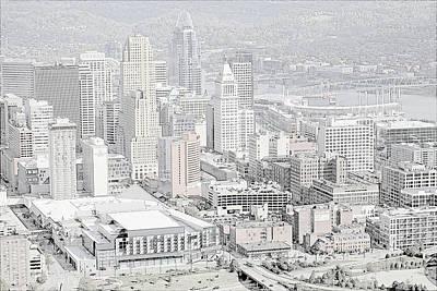 Stadium Drawing - Downtown Cincinnati by L O C