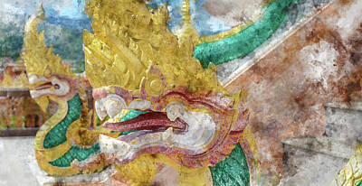 Photograph - Dragons At Chalong Temple In Phuket Thailand by Brandon Bourdages