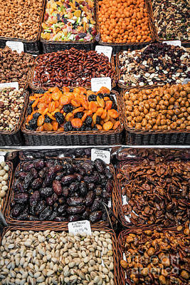 Photograph - Dried Fruits And Nuts Stall La Boqueria Market Barcelona Spain by Jacek Malipan