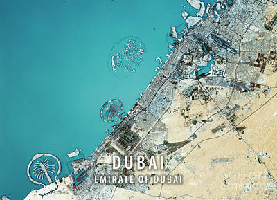 Cartography Digital Art - Dubai 3d Render Satellite View Topographic Map by Frank Ramspott