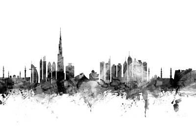 Dubai Skyline Art Print by Michael Tompsett