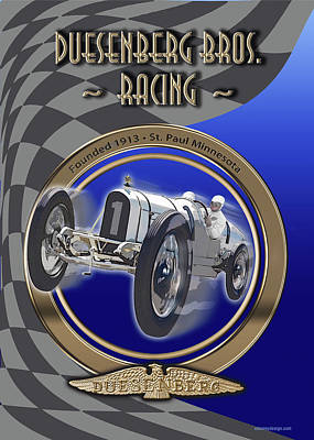 Digital Art - Duesenberg Bros. Racing by Ed Dooley