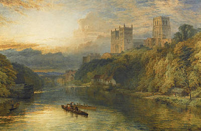 Painting - Durham Cathedral From The River by Henry Dawson
