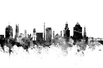 Duke Wall Art - Digital Art - Durham North Carolina Skyline by Michael Tompsett