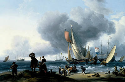 Painting - Dutchman Embarking Onto A Yacht by Ludolf Bakhuizen