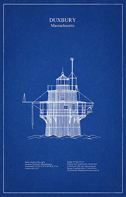 Duxbury Digital Art - Duxbury Lighthouse - Massachusetts - Blueprint Drawing by Jose Elias - Sofia Pereira