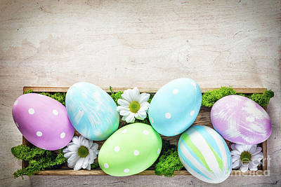 Egg Photograph - Easter Decoration - Eggs And Flowers On A Wood by Michal Bednarek