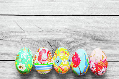 Photograph - Easter Handmade Eggs On Wooden Table. by Michal Bednarek