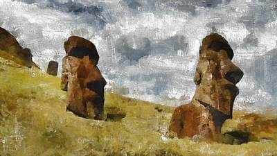 Pumpkins Painting - Easter Island by Mary Bassett