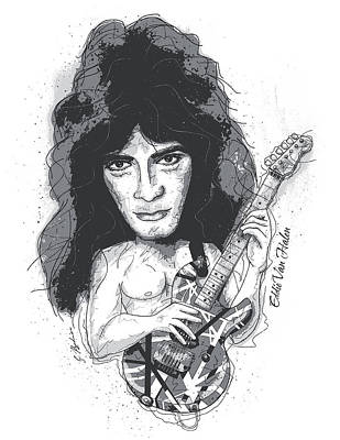 Halen Digital Art - Eddie Van Halen by Gary Bodnar