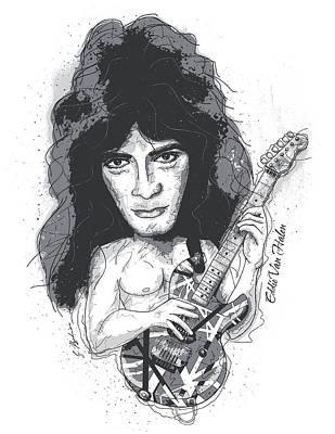 Van Halen Digital Art - Eddie Van Halen by Gary Bodnar