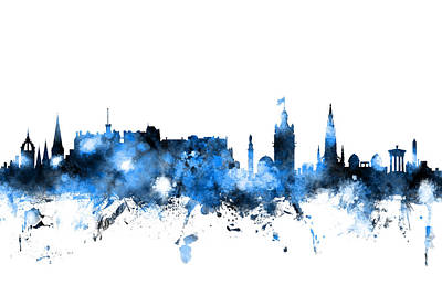 Great Britain Digital Art - Edinburgh Scotland Skyline by Michael Tompsett